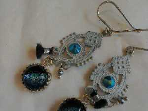 handmade dichroic glass and silver jewellery by BoHo Buffalo. Made in Wales